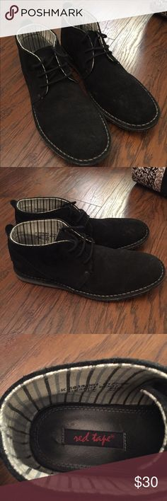 Sale ASOS Red Tape Desert Boots 9.5 These are a black suede. Nearly new with no signs of wear. PRODUCT DETAILS Sneakers by Red Tape  suede upper Lace-up fastening Textured tread Treat with a leather protector 100% Real Leather Upper Red Tape Shoes Boots