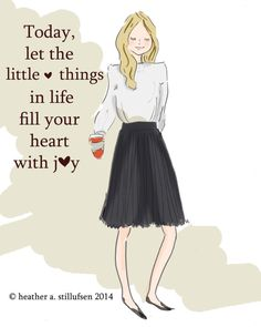 Today let the little things in life fill your heart with joy.. Art For Women  Inspirational Art  Room by RoseHillDesignStudio