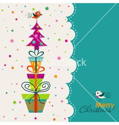 Template christmas greeting card vector by Tolchik on VectorStock®