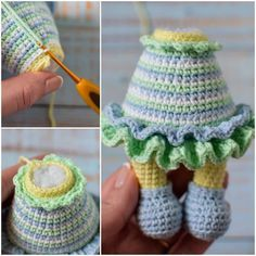 Crochet the sweet chick in dress with this easy to … Crochet Toys Patterns, Amigurumi Patterns, Stuffed Toys Patterns, Crochet Dolls, Crochet Hats, Crochet Lovey, Half Double Crochet, Single Crochet, Amigurumi Doll