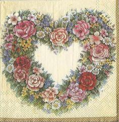 Купить 6видов!Салфетки для декупажа Сердце - салфетка для декупажа, декупажные салфетки, материалы для декупажа, розы, розочки
