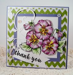 Pansies Digital Stamp Set by Power Poppy, card design by Stacy Morgan.
