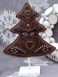 Felted and embroidered Christmas ornaments