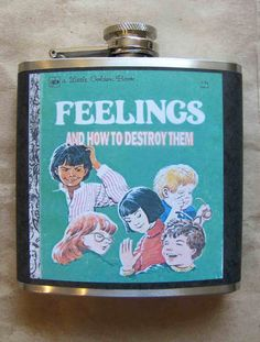 Love this flask spotted on Etsy - is this just a color copy of a Photoshopped Little Golden Book decouppaged onto a flask? If so, that's crafty...