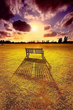 I want to sit on this bench and watch this sunset.