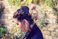 A Braided Messy Bun Hairstyle for Long Ombre Hair www.zoella.co.uk