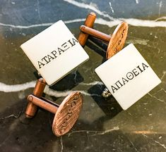 Personalized Greek or Spanish Cuff links - Gold Silver Copper Engagement Couple, Engagement Gifts, Hand Art, First Dates, Photo Jewelry, Personalized Jewelry, Hand Stamped, Initials, How To Memorize Things