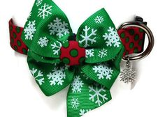 Christmas Dots and Snowflakes Dog Collar size by jeanamichelle
