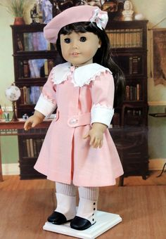 Pink Linen Dress and Hat for Samantha or any American Girl Doll. $55.00, via Etsy.