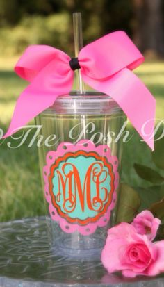 Monogram & Initial Gifts for Teenage Girls / Teens: Personalized Custom Monogramed Scallop Tumbler Cup with Straw & Bow by The Posh Diva @ Etsy