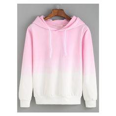 Hooded Pink Ombre Loose Sweatshirt (€12) ❤ liked on Polyvore featuring tops, hoodies, sweatshirts, hooded top, ombre sweatshirt, loose tops, pink sweat shirt and pink sweatshirt