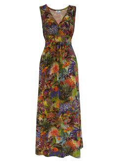 Vestido longo de malha verde floral encomendar agora na loja on-line bonprix.de  R$ 99,90 a partir de Cada peça é única! Formato levemente evasé, com cós ...