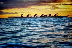 Six man canoe withSunset taken from in the water by Don Briggs, via Flickr