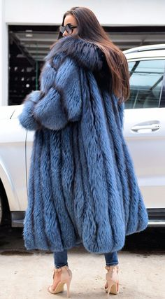 FANTASTIC LONG FUR COAT WITH HOOD. ROYAL SAGA FOX FUR. SILVER FOX IN BLUE COLO R. TOP QUALITY AND CLASS - MADE FROM ROYAL SAGA MINK SKINS. SILVER FOX ! ENDS OF COLLECTIONS AND ITALIAN FURS. All skins used in our fur coats are Farm Raised. | eBay!