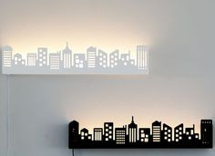 Details about Black/White City Lighted Wall Shelf LED Lamp Floating Books…