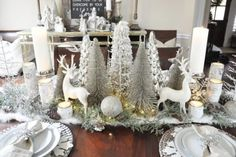 Instead of sticking with all white, add in some silver for an extra sparkle with this color scheme. #christmaspartyideas #christmasparty #christmasparties #christmaspartythemes #partythemes #silver #white Winter Wonderland Christmas, Merry Christmas, Winter Christmas, Christmas Home, Christmas Crafts, Christmas Trees, Christmas Friends, Pottery Barn Christmas, Christmas Mantles