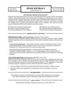Non Profit Executive-Page1 | Non Profit Resume Samples | Pinterest ...