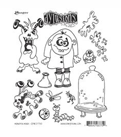 RANGER-Dyan Reaveley: Dylusions Cling Rubber Stamp Set. These red rubber stamps come mounted on cling foam to easily use with any acrylic block (sold separately). This package contains one 8-1/2x7 inc