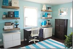 turquoise and white office