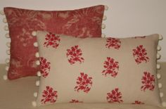 Pom pom trimmed cushions in linens by Kate Forman