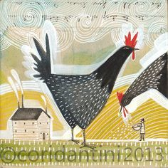 chicken - rooster - farm - watercolor - folk painting - whimsical - limited edition and archival print, 8 x 8 inches by cori dantini