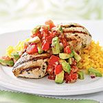 Cilantro-Lime Chicken with Avocado Salsa Recipe | MyRecipes.com. This has been a return-to meal (less the rice) at our house for a few years!