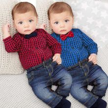 Cheap boy gentleman, Buy Quality children baby directly from China plaid shirt jeans Suppliers: European and American Boys Gentleman Plaid Suit Newborn Infants Children Baby Gentleman Plaid Shirt Top + Jeans Wholesale Baby Clothes, Cheap Baby Clothes, Boys Clothes Style, Baby Boy Clothing Sets, Infant Clothing, Kids Clothing, Wholesale Clothing, Baby Outfits Newborn, Baby Boy Outfits