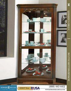 Cherry Finish Decorative Overlay Corner Curio Cabinet | 680605 Howard Miller