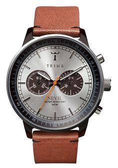 Klassisk designet kronograf ur med læderrem - Triwa Havana Nevil Brown