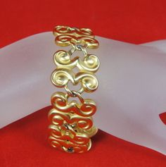 "Vintage Bracelet 8"" Anne Klein Chunky Club Link Toggle Matte Gold Lion Hangtag #AnneKlein #Statement"