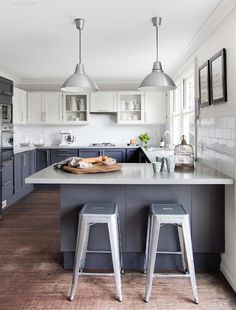 7 Experienced Hacks: Small Kitchen Remodel With Bar kitchen remodel butcher block spaces.Small Kitchen Remodel With Bar kitchen remodel rustic shabby chic.Small Kitchen Remodel With Bar. Blue Gray Kitchen Cabinets, Gray And White Kitchen, Kitchen Cabinet Colors, Painting Kitchen Cabinets, Kitchen Grey, White Cabinets, Wood Cabinets, Grey Cupboards, Kitchen Colors