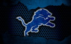 Download wallpapers Detroit Lions, 4k, logo, NFL, american football, NFC, USA, grunge, metal texture, North Division