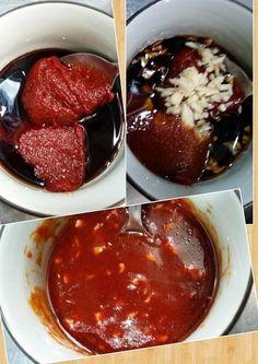 227. (2) 醬油+韓國辣椒醬+麻油+糖(3包)+剁碎的蒜頭 全部放在一起 攪拌
