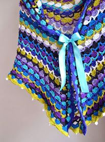 Crochet colorful shawl ♥LCP-MRS♥ with diagram, and it's very easy, good for beginners. Crochet Fall, Diy Crochet, Crochet Diagram, Crochet Chart, Crochet Scarves, Crochet Clothes, Crocheted Scarf, Crochet Flower Patterns, Knitting Patterns