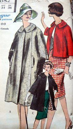 LOVELY VTG 1960s COAT VOGUE Sewing Pattern 14/34