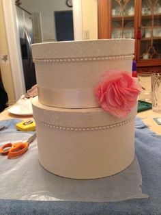 Detailed Step-By-Step DIY Lace Card Box :  wedding card box diy lace Finished Product
