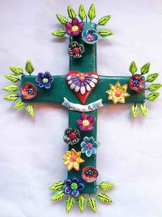 Dos Mujeres Mexican Folk Art - Allegorical Clay Cross Corazon de Angel