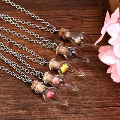 New Fashion Dry Flower Inside Lucky Glass Wishing Bottle silver Pendant Necklacesintothea Bottle Necklace, Glass Necklace, Silver Pendant Necklace, Flower Necklace, Fashion Jewelry Necklaces, Fashion Necklace, Jewelry Gifts, Women Jewelry, Chain Pendants