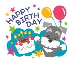 Stickers of Miniature Schnauzer Happy Birthday Quotes For Friends, Birthday Wishes For Daughter, Happy Birthday Images, Dog Birthday, Happy Birthday Wishes, Birthday Greetings, Mini Schnauzer Puppies, Schnauzer Puppy, Miniature Schnauzer