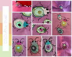 WHIMSICAL BUGS, little colourful, cute creatures, made to embellish your textile projects, 9 Machine Embroidery Designs, very combinable by fruBlomgren on Etsy