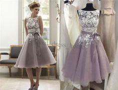 Elegant Lace Short Cocktail Prom Evening Gowns Party Bridesmaid Dresses Custom