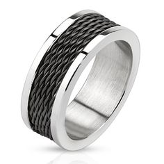 Black Cyclone – Black IP and silver stainless steel ring with stacked wire inlay…