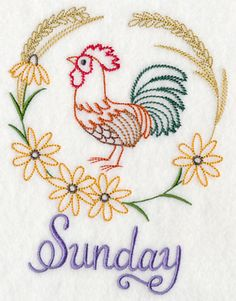mother hen - hand embroidered floursack tea towel with vintage
