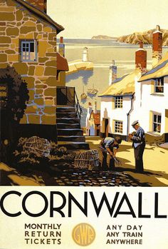 vintage travel posters travel posters of ireland. Cornwall vintage travel poster This beautiful travel poster reminds me a lot of th. Posters Uk, Railway Posters, Vintage Travel Posters, Old Poster, Poster Ads, Poster Prints, Art Print, Advertising Poster, Pub Vintage