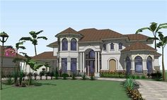 Home Plan The Lazare is a great luxury two story house plan with 6024 total square feet. Some of the special features of this luxury home plans' includes: Additional Guest House, Perfect for Visiting Relatives  Luxurious Breezeway, Courtyard and Lanai  Secluded Master Suite Fit for Royalty, Complete with Enormous Walk-In Shower  Glorious Second Story Balcony Overlooking Formal Living  Additional Rooms Include Study, Game, Galleries and