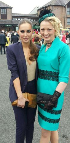 Joan Heeney-Kealy of JHK Millinery (turqoise hat) with Celebrity judge Roz Purcell at Punchestown Racecourse, Ireland, Spring Ladies Day, Spring 2014, My Favorite Color, My Wardrobe, Mother Of The Bride, Headpiece, Ireland, Celebrity, Hat
