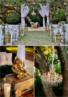 A chic cross cultural wedding with Hindu touches. | rustic and ethnic reception decor @weddingchicks