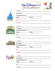 Great page and site with loads of printables and planning resources to help make your trip easier and better!  (And helpful advice from others helps too)! Planning Notebook Pages - Page 10 - The DIS Discussion Forums - DISboards.com
