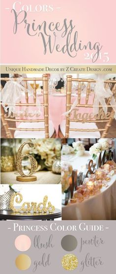 Princess Wedding Colors | Blush, Metallic Gold & Pewter, Glitter Accents | 2015 Unique Wedding Decor by Z Create Design www.ZCreateDesign.com