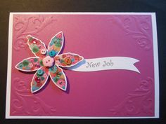 New Job  Flower with Buttons Handmade Card by WendyLizabet on Etsy, £3.00